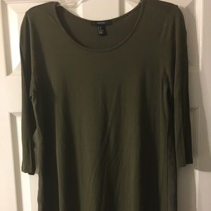 Army green blouse with sheer back